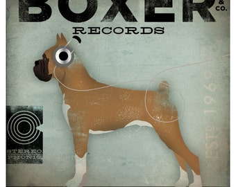 Boxer Records dog music graphic illustration art on gallery wrapped canvas by stephen fowler