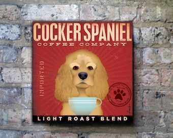 Cocker Spaniel Coffee Company original graphic art on gallery wrapped canvas by stephen fowler
