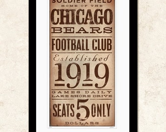 Chicago Bears Football club typography giclee archival unframed print by Stephen Fowler geministudio Pick A Size