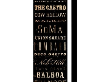 San Francisco neighborhoods typography graphic art on gallery wrapped canvas by stephen fowler