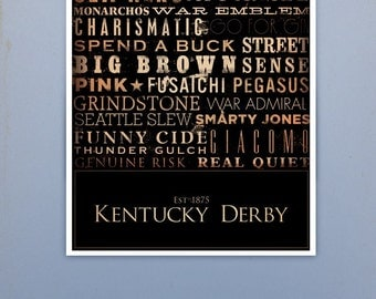 Kentucky Derby Horses typography graphic artwork signed giclee archival print by stephen fowler