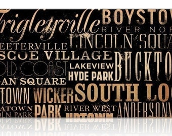 Chicago Streets Canvas Art horizontal graphic art typography on canvas  by stephen fowler