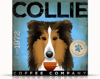 Collie coffee company original graphic illustration on gallery wrap canvas  by stephen fowler