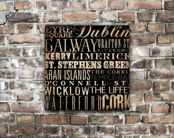 Ireland typography illustration graphic  word art on gallery wrapped canvas by stephen fowler