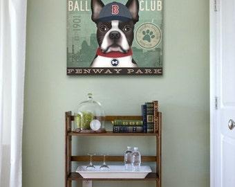 Boston Terrier baseball club BOSTON illustration graphic art on canvas 12 x 12 x 1.5 by stephen fowler