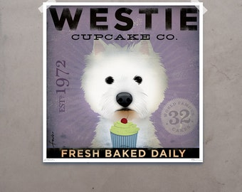 Westie Cupcake Company west highland terrier giclee print original illustration by Stephen Fowler