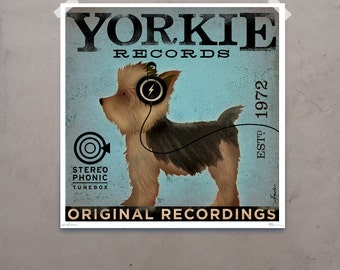 Yorkie Yorkshire Terrier records original graphic art giclee archival print by stephen fowler geministudio PIck A Size