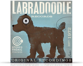 Labradoodle dog Records original graphic art on gallery wrapped canvas by stephen fowler