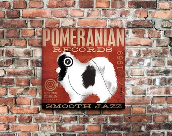 Pomeranian Records original graphic art illustration on gallery wrapped canvas by stephen fowler geministudio