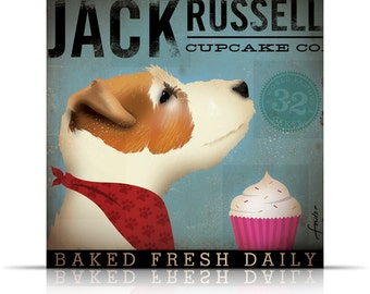 Jack Russell Cupcake Company original illustration graphic art on gallery wrapped canvas  by stephen fowler