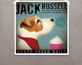 Jack Russell Cupcake Company original illustration giclee archival signed artists print by stephen fowler PIck A Size