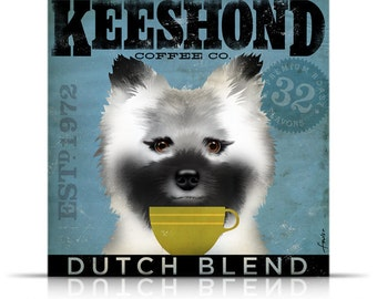Keeshond Coffee Company original graphic illustration on gallery wrapped canvas by Stephen Fowler
