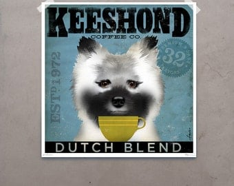 Keeshond dog Coffee Company original graphic illustration giclee archival signed artist's print by Stephen Fowler