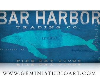 Bar Harbor Maine humpback whale trading company graphic art illustration on gallery wrapped canvas