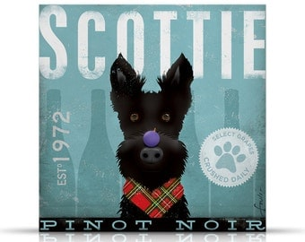Scottie winery original illustration graphic art on gallery wrapped canvas by Stephen Fowler