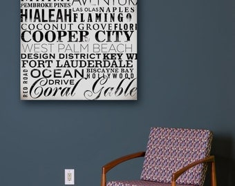 Miami Florida neighborhoods typography graphic art on gallery wrapped canvas by stephen fowler
