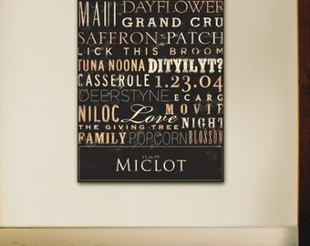 Custom Typography graphic art on canvas 30 x 48 by gemini studio  WEDDINGS BIRTHDAYS ANNIVERSARIES