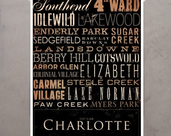 Charlotte North Carolina Typography graphic art giclee archival signed artist's print by Stephen Fowler PIck A Size