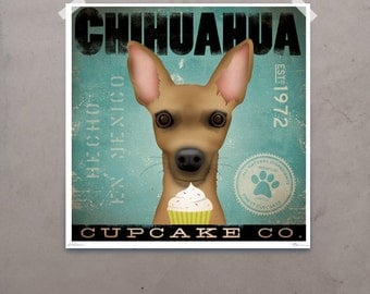 Chihuahua Cupcake company vintage style graphic art giclee archival signed print by Stephen Fowler