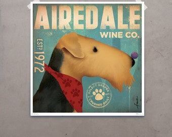 AIREDALE wine company original graphic art illustration giclee archival signed print by stephen fowler Pick A Size