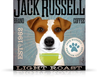 Jack Russell Coffee company vintage style graphic artwork on gallery wrapped canvas by stephen fowler
