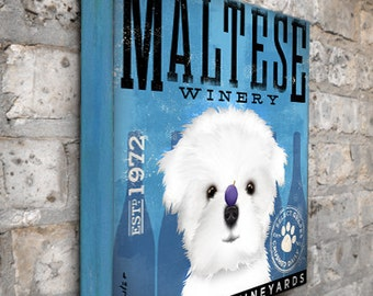 Maltese Winery dog wine graphic illustration on gallery wrapped canvas by Stephen Fowler
