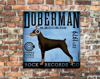 Doberman Records hard rock records company original illustration on gallery wrapped canvas by stephen fowler