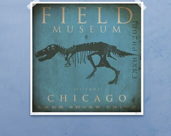Field Museum Chicago Dinosaur Tyrannosaurus Rex Sue Giclee archival print by Stephen Fowler Pick A Size