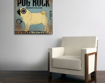 PUG ROCK records album style graphic artwork on gallery wrapped by stephen fowler