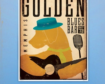 Golden Retriever Blues club original graphic illustration giclee archival signed print by Stephen Fowler PIck A Size
