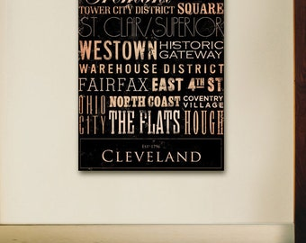 Cleveland Ohio neighborhoods typography graphic art on gallery wrapped canvas by stephen fowler