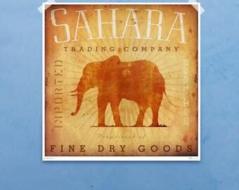 Sahara Trading Company Elephant safari illustration giclee archival signed print by stephen fowler
