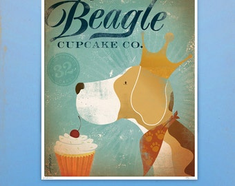 Regal Beagle Cupcake Company original illustration giclee archival signed artists print 11 x 14 by stephen fowler