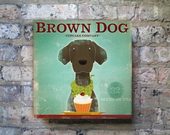 Brown Dog Chocolate Lab CUPCAKE COMPANY gallery wrapped canvas artwork graphic by stephen fowler