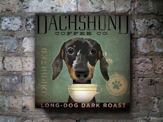 Dachshund Coffee Company original graphic art collage on canvas 16 x 16 x 1.5 NEW SIZE