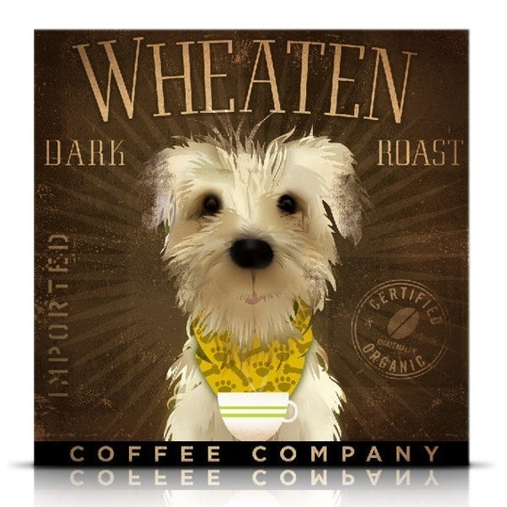 Wheaten Terrier Dark Roast dog Coffee company original graphic illustration giclee print by stephen fowler Pick A Size