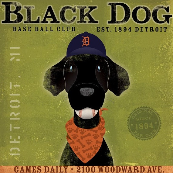Detroit Tigers black dog baseball club original graphic art on 12 x 12 canvas by stephen fowler
