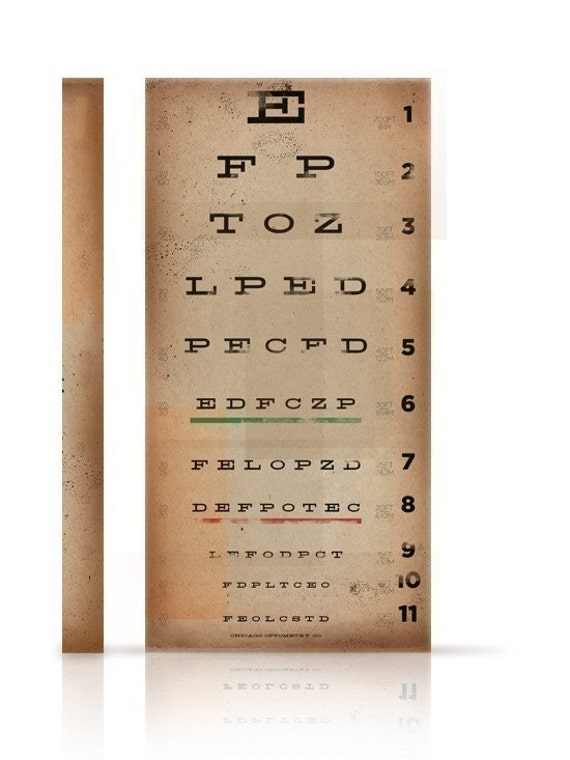 EYE exam chart vintage style graphic artwork on canvas 8 x 16 x 1.5 by stephen fowler