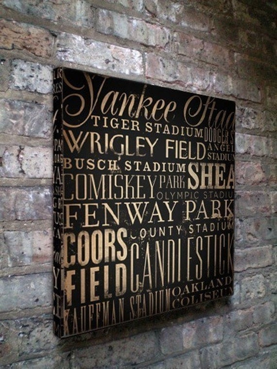 Baseball Stadiums Typography graphic art on gallery wrapped canvas by stephen fowler