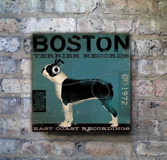 BOSTON terrier records dog artwork illustration gallery wrap on canvas by Stephen Fowler geministudio