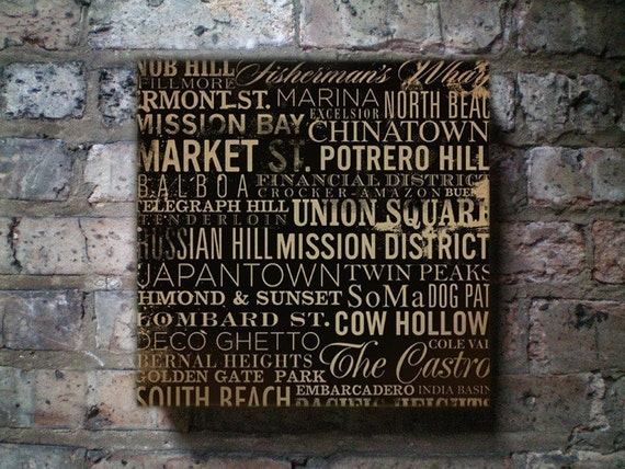 San Francisco Streets Typography Canvas artwork on gallery wrapped canvas by stephen fowler