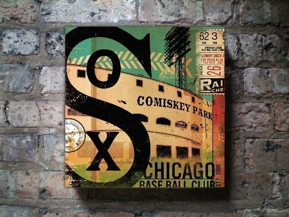 Chicago White Sox baseball club graphic art on canvas panel 10 x 10 by Stephen Fowler **Special Price**