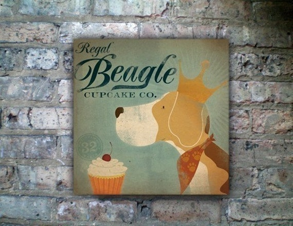 Regal Beagle Cupcake Company Canvas original artwork graphic on gallery wrapped canvas by stephen fowler