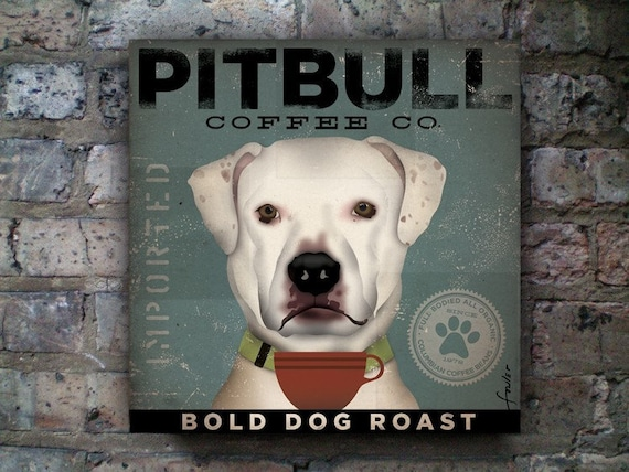 Pit bull Terrier Coffee Company original graphic art on gallery wrapped canvas by stephen fowler