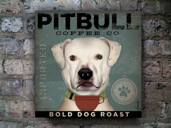 Pit bull Terrier pitbull dog Coffee Company graphic art on gallery wrapped canvas by stephen fowler