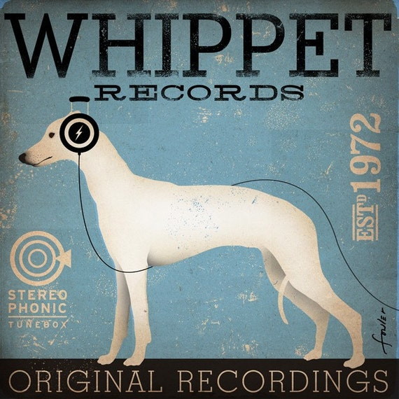 Whippet records 20 x 20 print graphic art illustration giclee archival print signed artists print by Stephen Fowler