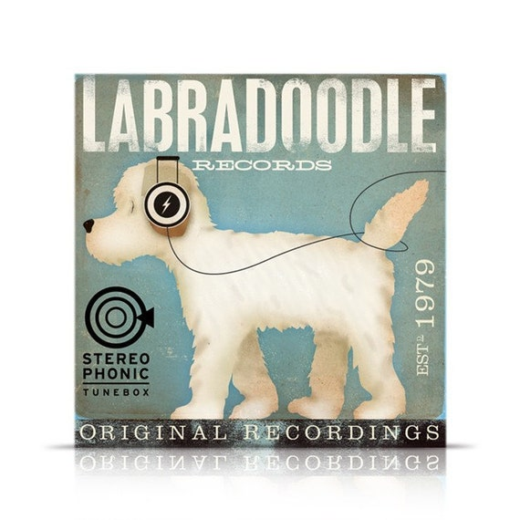 Labradoodle Records original graphic art giclee archival print by Stephen Fowler Pick A Size