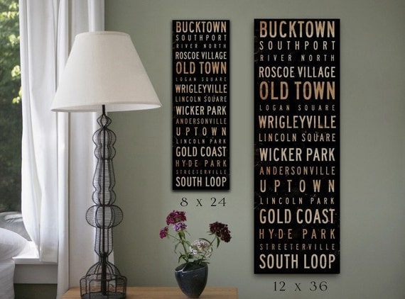 Chicago Neighborhoods Canvas typography graphic art on gallery wrapped canvas by stephen fowler