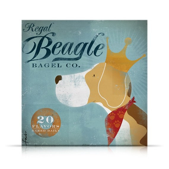 Regal Beagle Bagel company vintage style graphic artwork on gallery wrapped canvas by stephen fowler