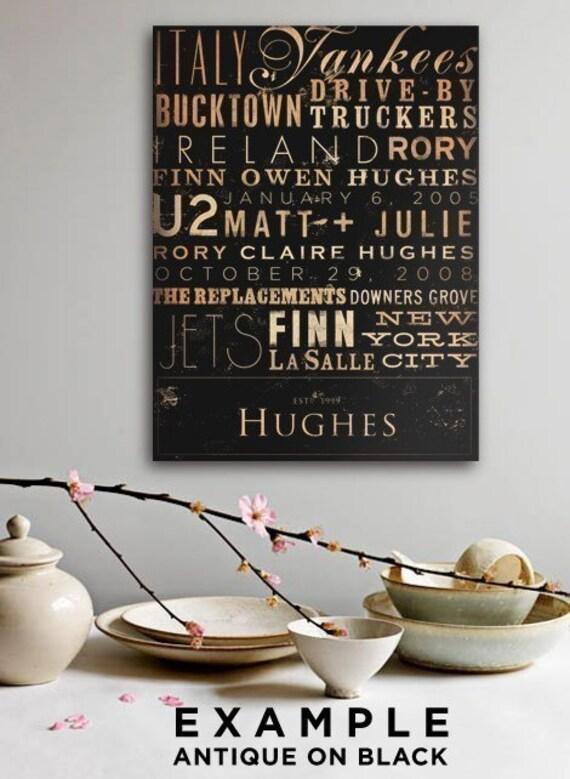 Custom Typography graphic art collage on canvas 24 x 36 by Gemini Studio